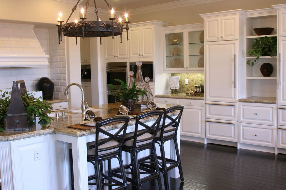Dark Wood Floors With White Kitchen Cabinets