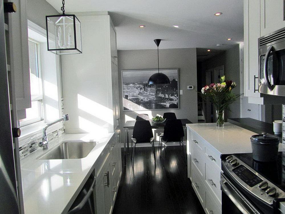 Galley Kitchen White Cabinets