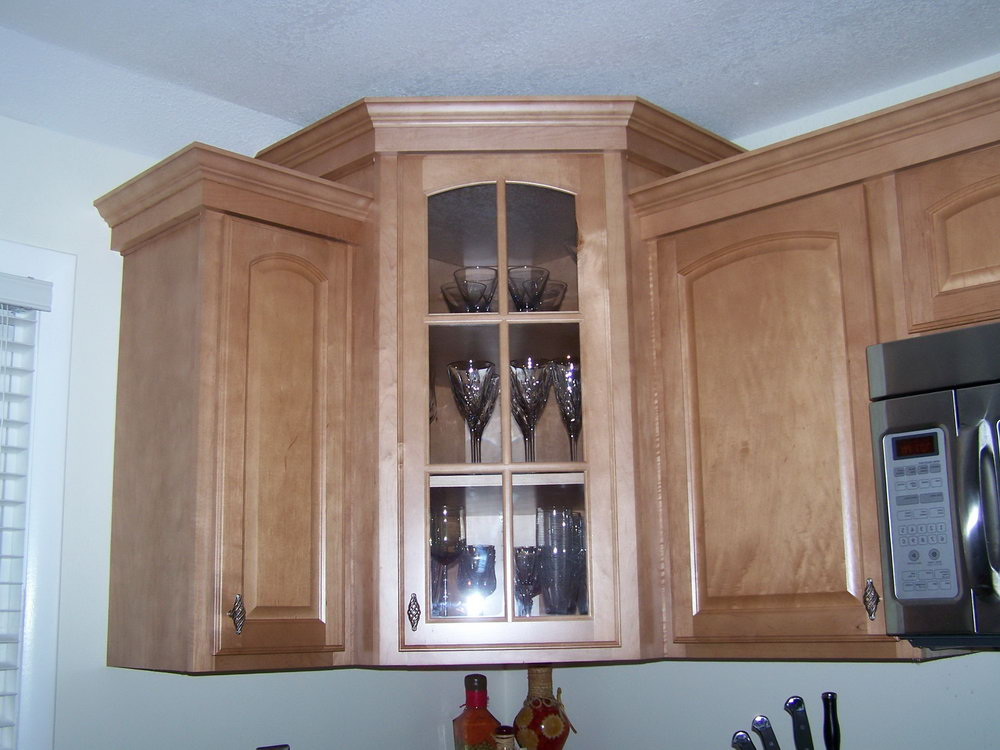 Glass Door Kitchen Corner Cabinet