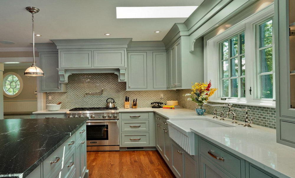 Gray Kitchen Cabinets Blue Walls