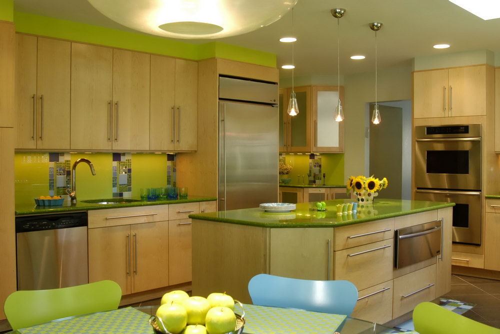 Green Kitchens With Wood Cabinets