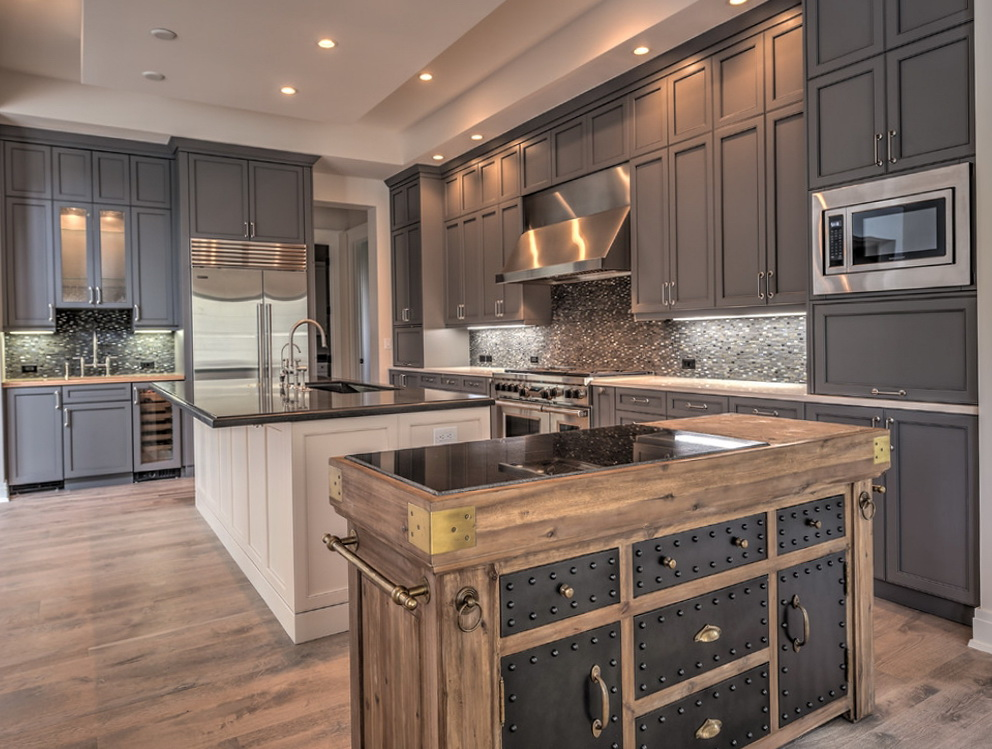 Grey Kitchen Cabinets With White Island