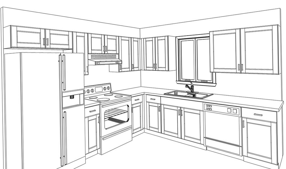 Kitchen Cabinet Line Drawings
