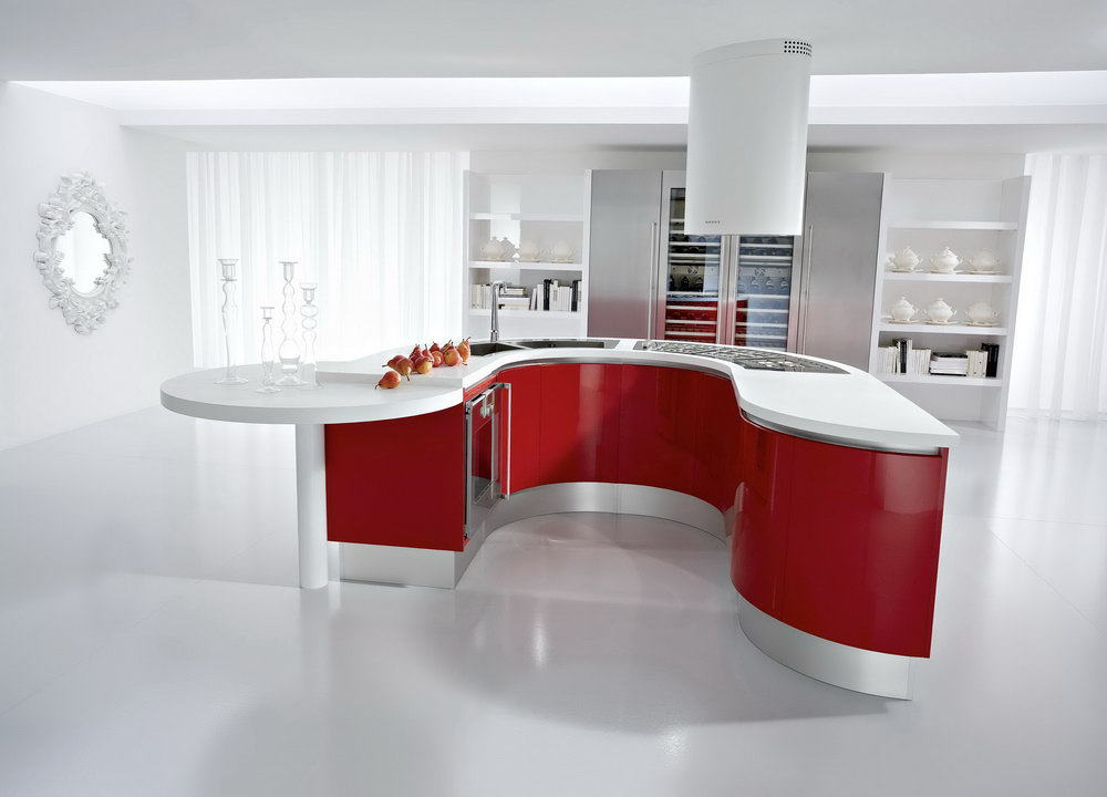 Kitchen Cabinet Red And White