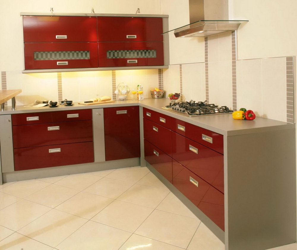 Kitchen Cabinet Red Color