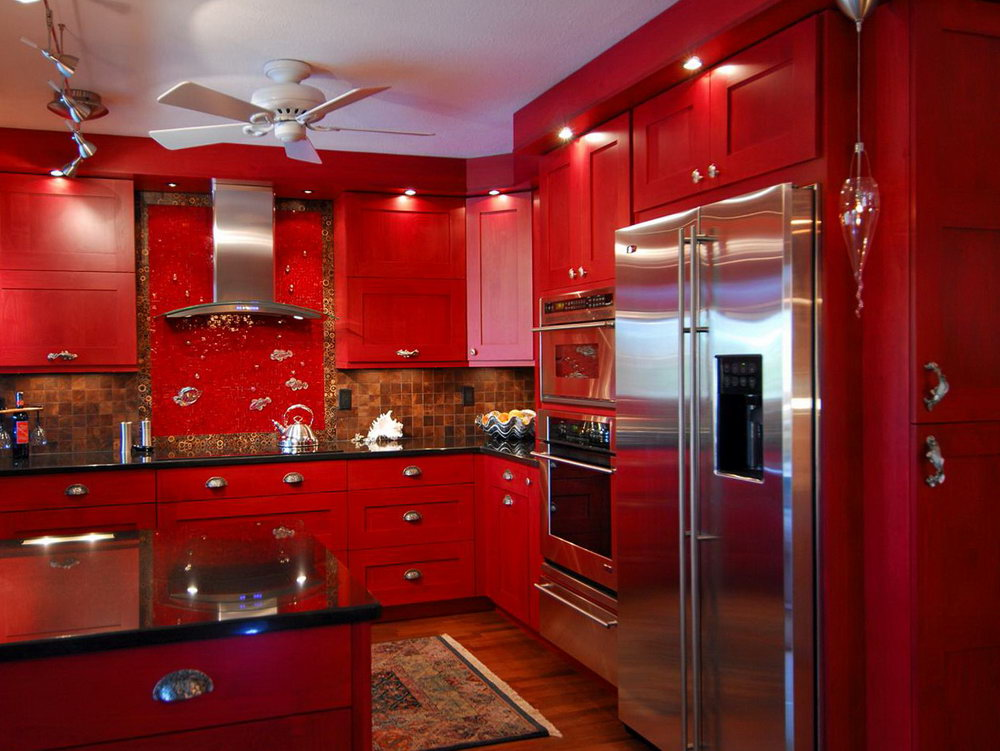 Kitchen Cabinet Red Colour