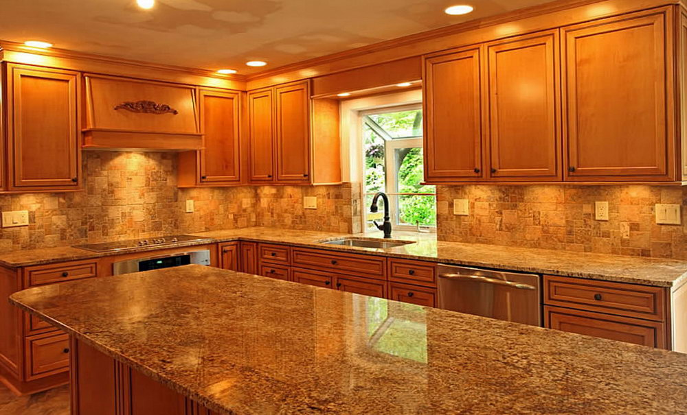 Kitchen Dark Countertop Light Cabinets