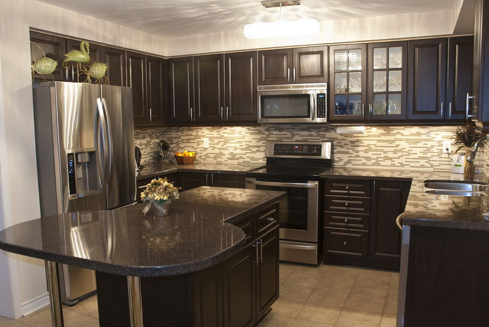 Modern Kitchen Backsplash Dark Cabinets