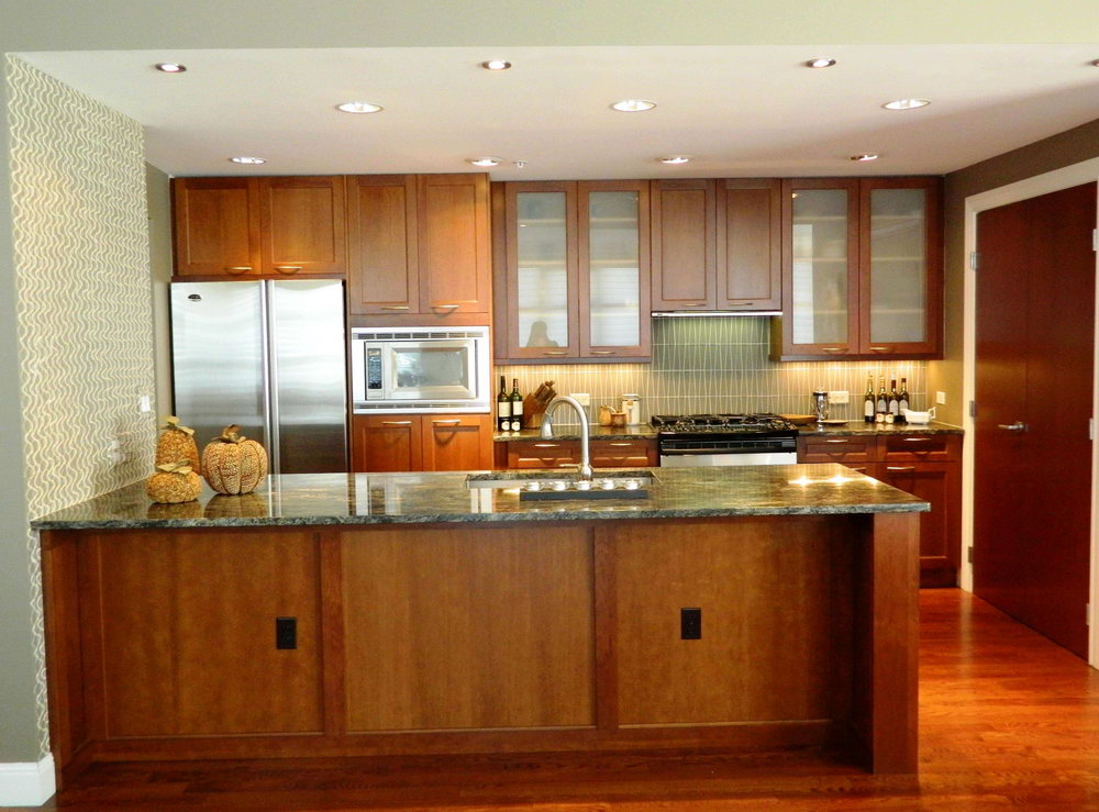 Modern Kitchen With Honey Oak Cabinets
