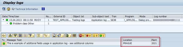 Application log - extra fields 07