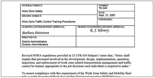 Work Zone Traffic Control Training Fhwa Work Zone