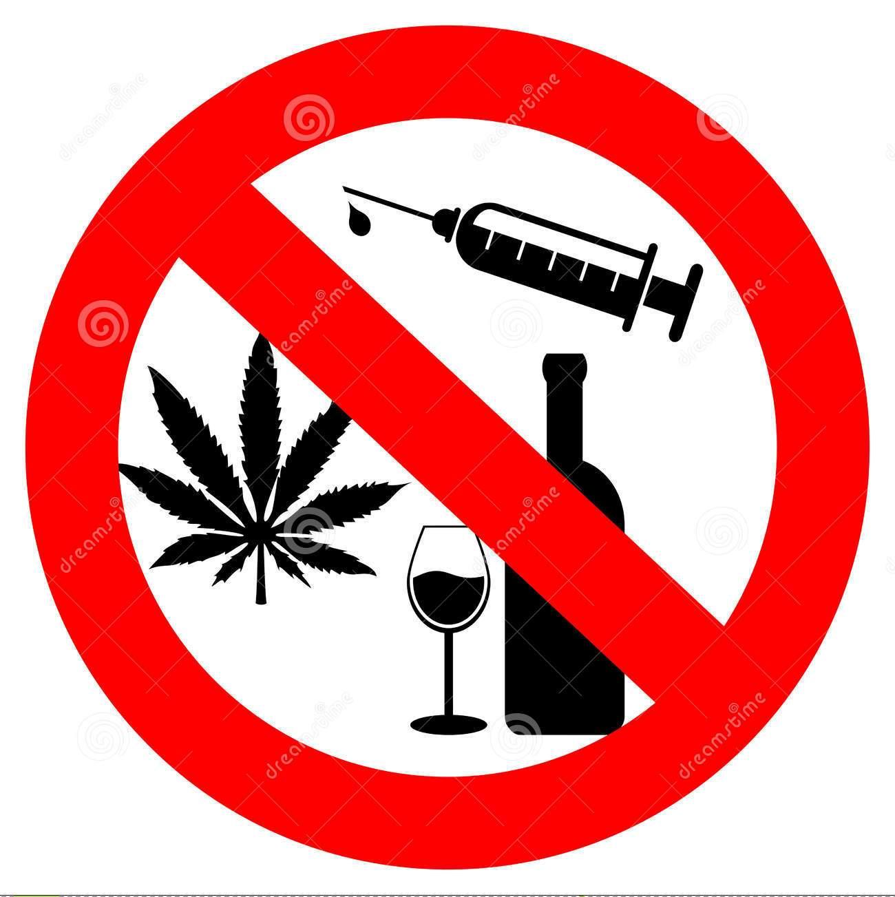 No Drugs Alcohol Vector Illustration