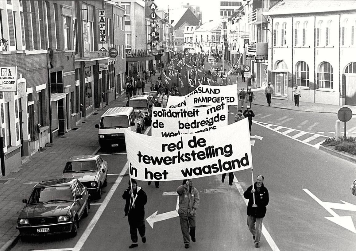 Betoging Boelwerf 1992 A. Wautersstraat Temse