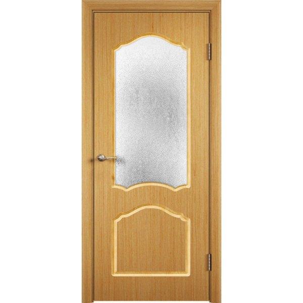 Шпонированная дверь Каролина (со стеклом, дуб)