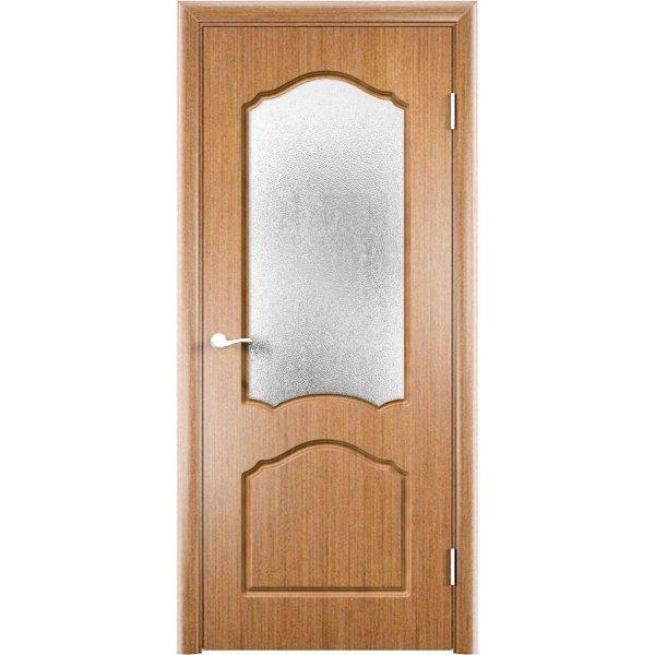 Шпонированная дверь Каролина (со стеклом, светлый орех)