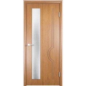 Шпонированная дверь Молния (со стеклом, светлый орех)