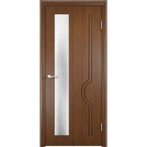 Шпонированная дверь Молния (со стеклом, темный орех)
