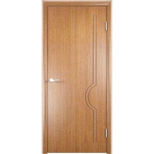 Шпонированная дверь Молния (глухая, светлый орех)