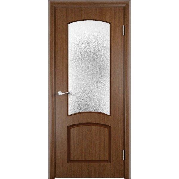 Шпонированная дверь Наполеон (со стеклом, темный орех)