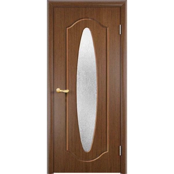 Шпонированная дверь Орбита (со стеклом, темный орех)