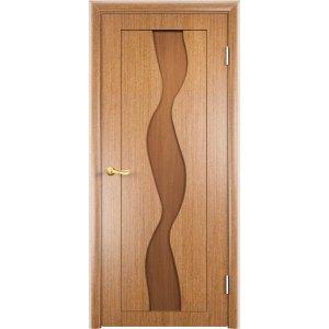 Шпонированная дверь Вираж (глухая, светлый орех)