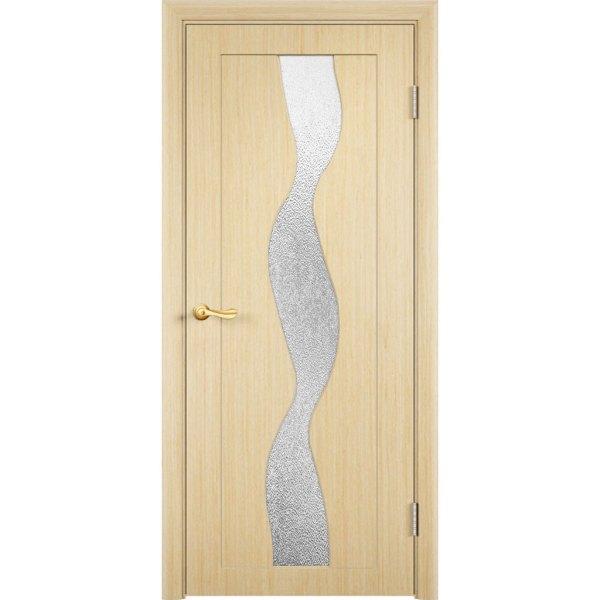 Шпонированная дверь Вираж (со стеклом, беленый дуб)