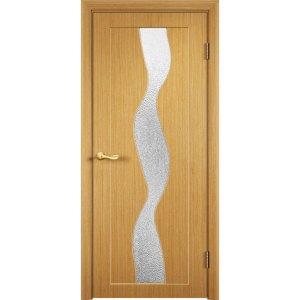 Шпонированная дверь Вираж (со стеклом, дуб)