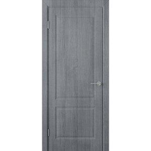 Шпонированная дверь Евро 2 (ДГ, серебристый дуб)