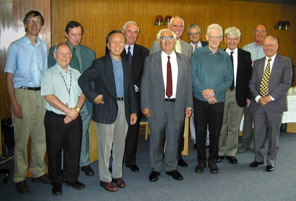 Jim Titchmarsh, George Cannel, John Irven, Charles Kao, George Hockham, Charlie Sandbank, Phil Black, Gary Sapsford, Simon Laurence, Brian Prossor, Ron Lomax, Robin Thompson - photo at 2002 reunion, by Richard Epworth