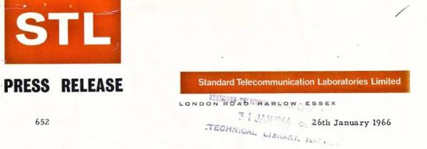 image of Header of first optical fibre press release, Jan 1966