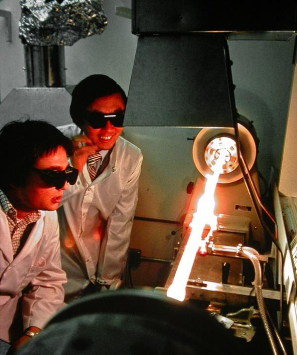 Charles Kao watching fibre fabrication