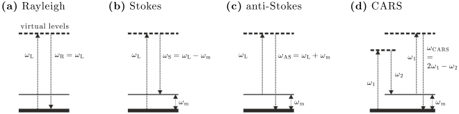 Fig. 15.4 — Energy levels schemes for different scattering processes