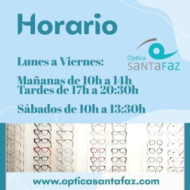 Horario invierno Optica SantaFaz www.opticasantafaz.com san vicente del raspeig alicante