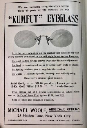 Kumfut Eyeglass Ad, 1908