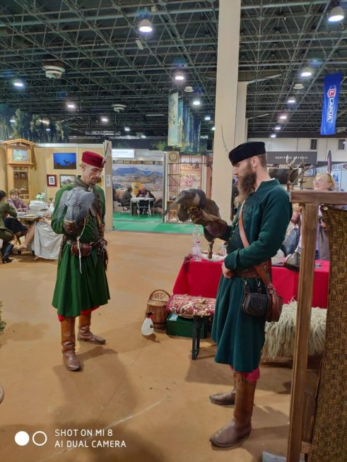Falconers at FeHoVa 2019 Hunting Fair in Budapest, Hungary