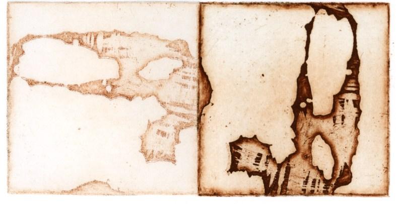 Intaglio etching, 4x2 in.