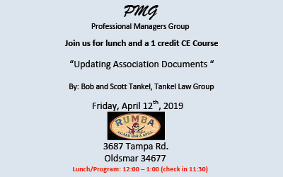 Professional Managers Group Lunch & 1 credit CE Course 4/12/2019