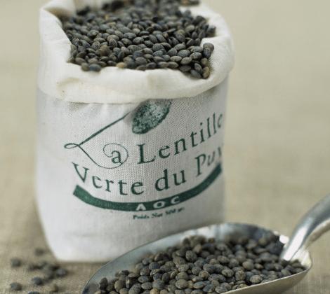 franske mørkegrønne puy-linser