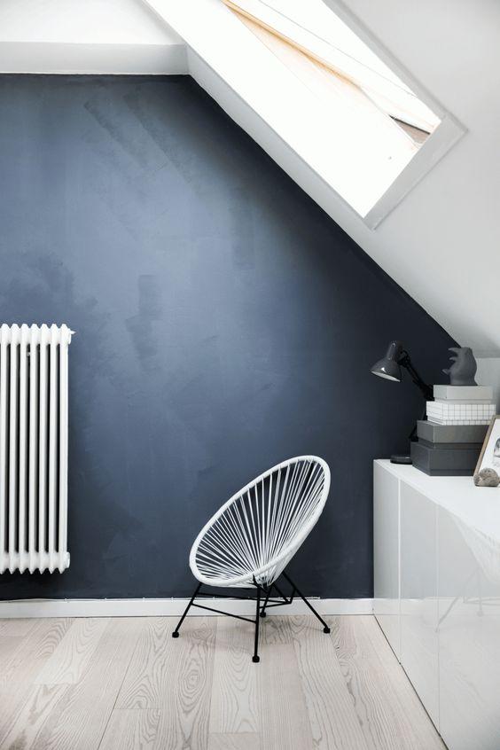 Mur Bleu Gris Pétrole Foncé Chaux Mat DY16