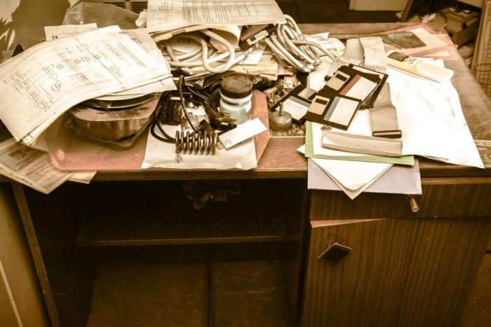 an unorganized desk