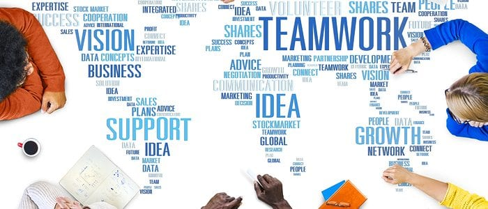 a group of people with social media words to show you need a team of people