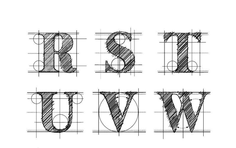 Image of hand written letters with guides and measurement lines imposed over letters