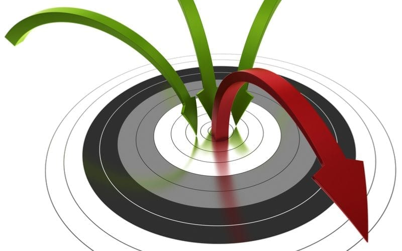 target with arrows illustrating bounce rate