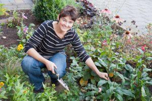 Gardening in a Flower Bed