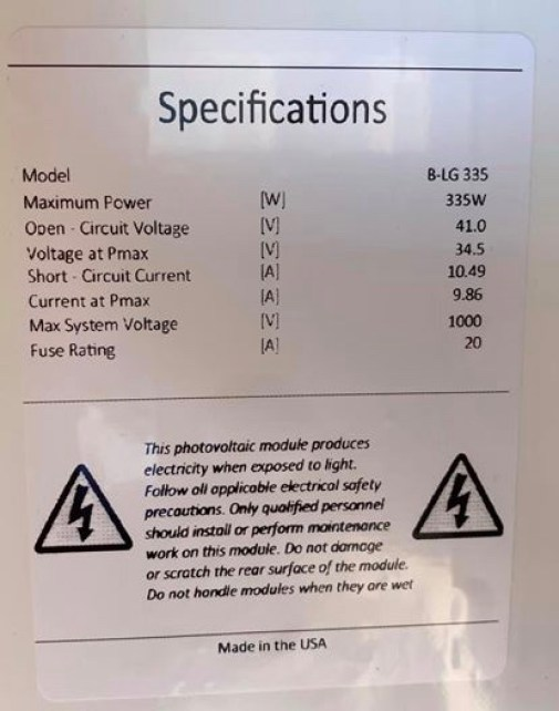 Understanding the data on this label will help you size your solar charge controller.