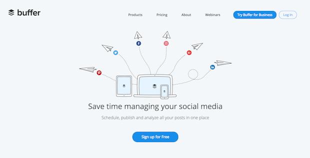 herramientas de marketing de medios sociales de búfer