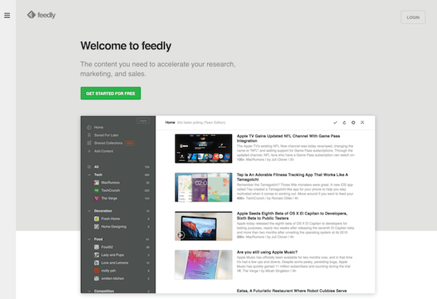 herramientas de marketing social - feedly
