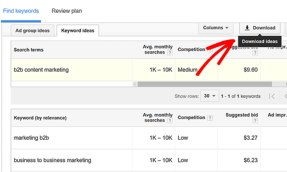 adwords keyword research tools download results