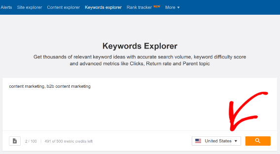 ahrefs keywords research tool main