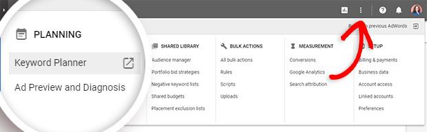 google adwords find keyword planner